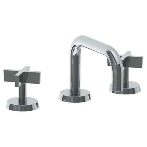 Blue Widespread Faucet in Matte Black