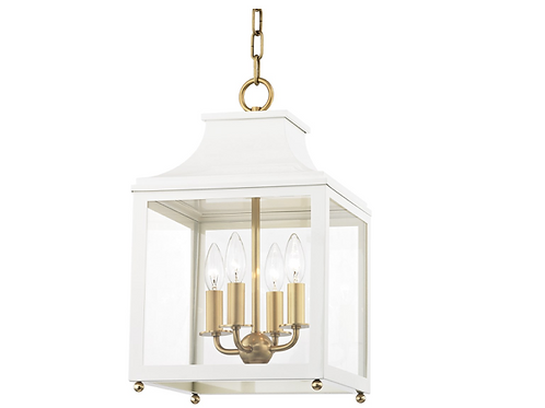 Leigh Pendant in Soft Off White and Aged Brass