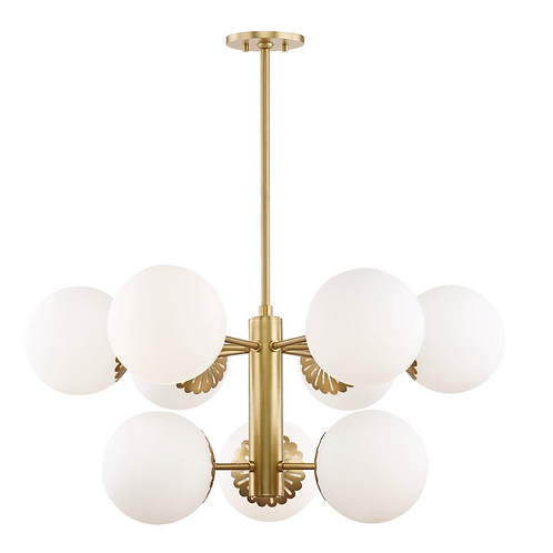"Paige 33"" Chandelier in Aged Brass"
