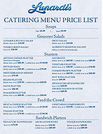 Lunardi's menu price list