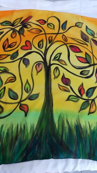 """Lenço de seda """"Árvore da Vida III"""""""