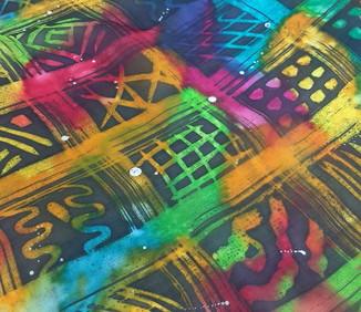 """Lenço de seda """"Batik Tribal"""""""
