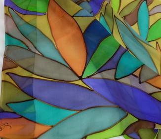 """Echarpe de seda """"Folhas do Céu e do Mar"""""""