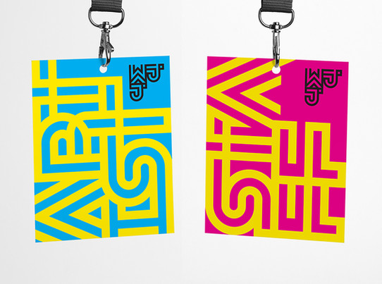 Watford Jazz Junction geometric font festival brand identity by Bret Syfert. See more about this project at the below link.