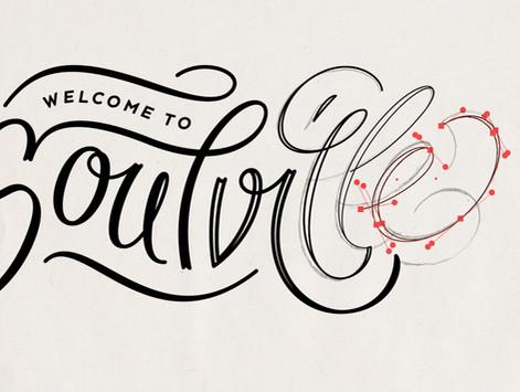 Welcome To Soulville podcast custom lettering logo branding identity by Bret Syfert