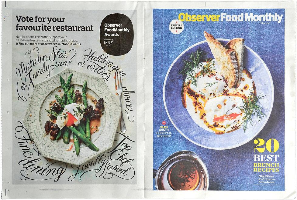 Custom lettering for The Observer Food Monthly by Bret Syfert