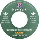 Backatcha record label design by Bret Syfert for Queen Of The Highway by Ja'net Dubois