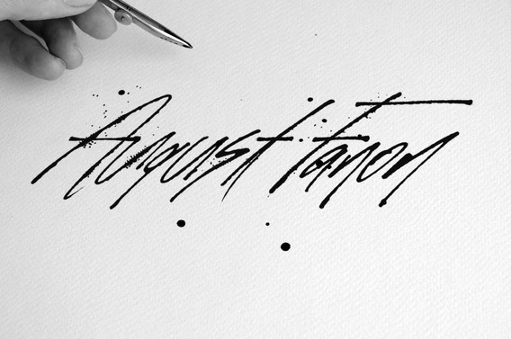 Pen and ink ruling pen left handed lettering signature style by Bret Syfert