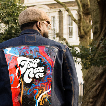 Hip hop artist Fatnice custom lettering logo branding identity and hand painted denim jacket by Bret Syfert