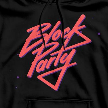 Block Party custom lettering logo by Bret Syfert