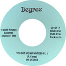 Backatcha record label design recreation by Bret Syfert for You Got Me Hypnotized by 5th Degree