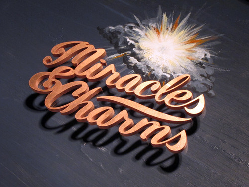 Miracles & Charms major exhibition custom lettering logo branding identity by Bret Syfert for Wellcome Collection