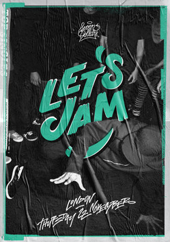Let's Jam bboy event custom lettering logo and poster design by Bret Syfert