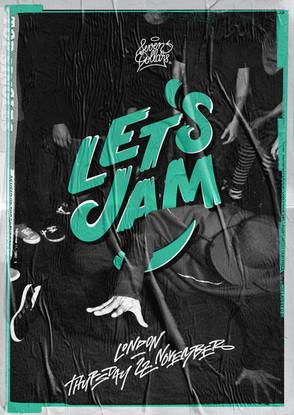 Let's Jam bboy event custom lettering logo and poster design by Bret Syfert