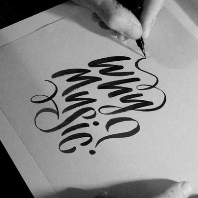 Why Music? custom brush script lettering logo branding identity for BBC Radio 3 programme by Bret Syfert