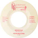 Backatcha record label design by Bret Syfert for Never Say by Kevin McCord