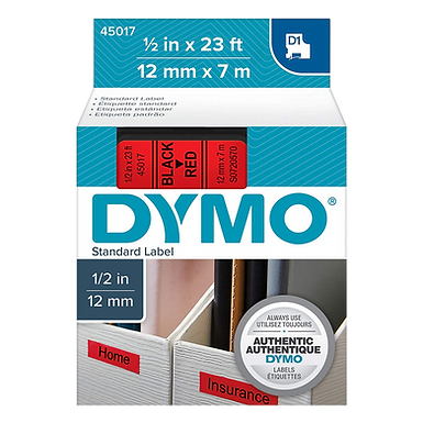 DYMO 45017 Cinta Impresión Negro/Rojo de 12mm x 7m LabelManager D1