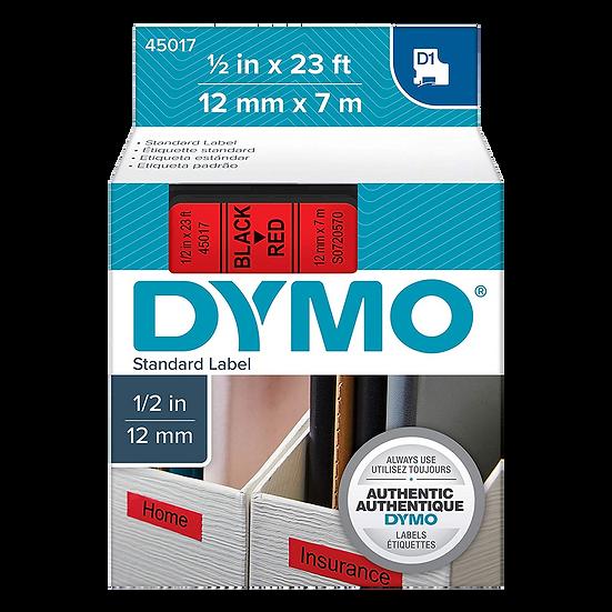DYMO 45017   Cinta Plastica Impresión Negro/Rojo de 12mm x 7m