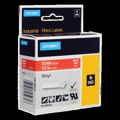DYMO Rhino Industrial 1805416 Cinta Vinilo 12mm x 5,5m Blanco/Rojo
