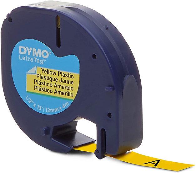 Dymo LetraTag 91332 Cinta Plástico Negro/Amarillo 12mm x 4m