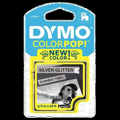 DYMO ColorPOP 2056085 Cinta Negro/Plata con Purpurina 12mm x 3m LabelManager D1