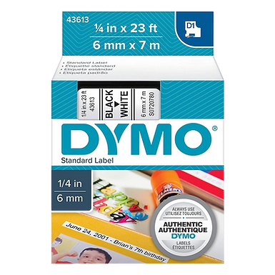 DYMO 43613 Cinta Negro/Blanco de 6mm x 7m LabelManager D1