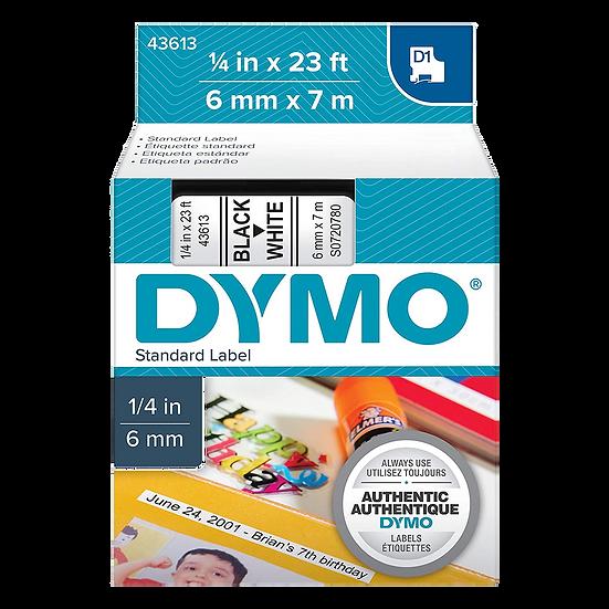 DYMO 43613   Cinta Plastica Impresión Negro/Blanco de 6mm x 7m