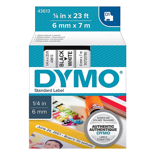 DYMO 43613 | Cinta Plastica D1 de 6mm x 7m Impresión Negro/Blanco
