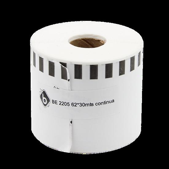 20 Rollos DK2205, Etiqueta Continua Blanca 62mm x 30m Para Brother BioLabels