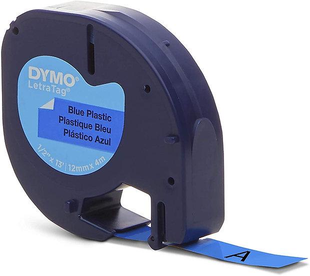 Dymo LetraTag 91335 Cinta Plástico Negro sobre Azul 12mm x 4m