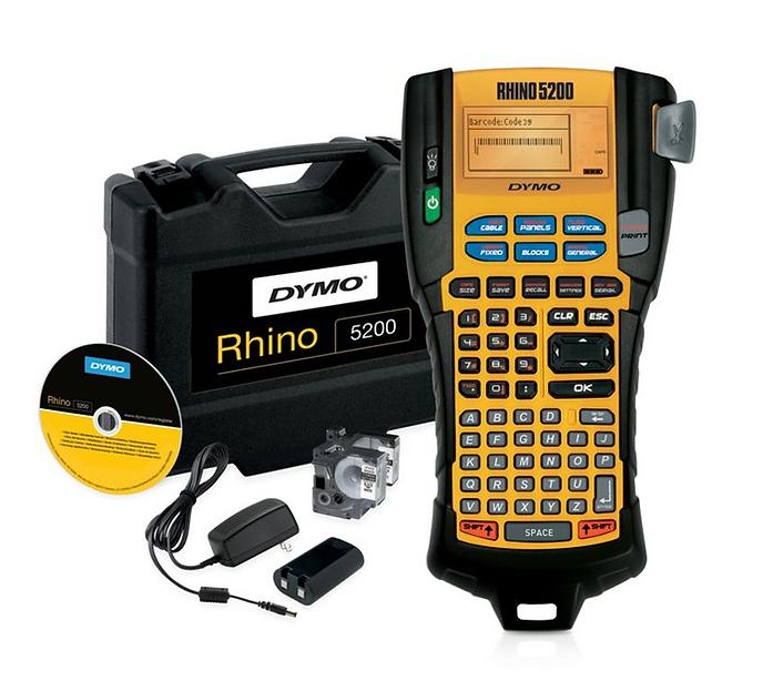 Rhino 5200 Kit, Rotuladora de Teclado ABC con Estuche y Cintas | DYMO Industrial