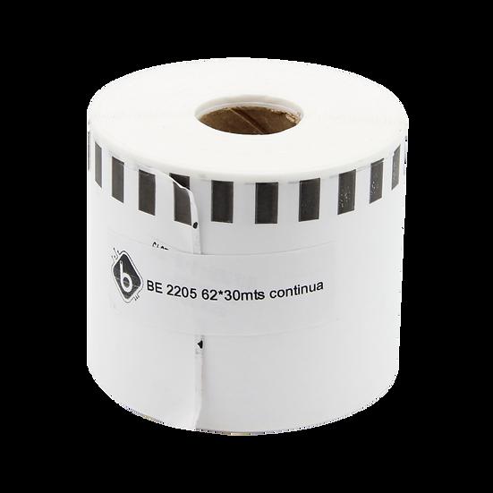 DK2205 Rollo Etiqueta Continua Blanca 62mm x 30m Para Brother QL | BioLabels