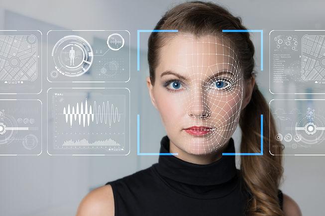 Facial Recognition System concept. Face