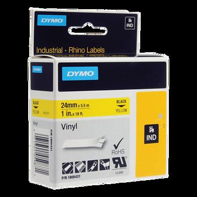 DYMO Industrial Rhino 1805431 Cinta de Vinilo de 24mm x 5,5m Negro/Amarillo