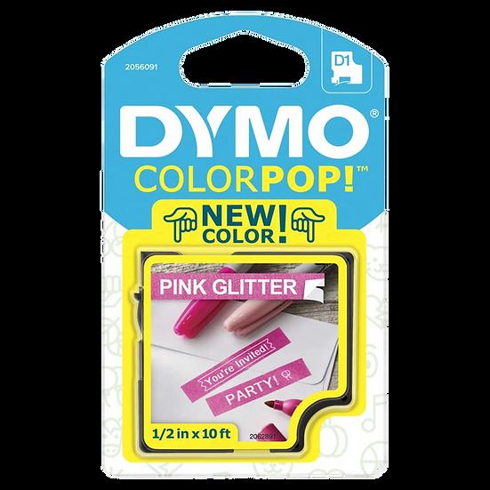2056091 Cartucho ColorPOP Negro/Rosa con Purpurina Cinta Plástica 12mm x 3m