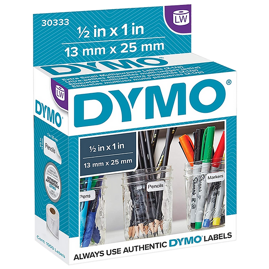 DYMO 30333 | Rollo de 1000 Etiquetas 13x25mm 2up | Imprime en Dymo 450