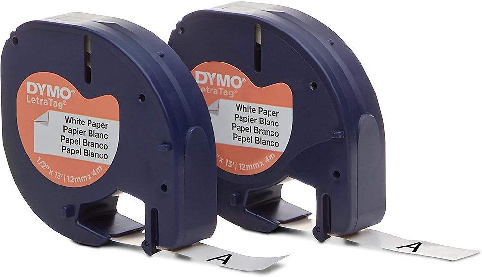 Dymo LetraTag 10697 | 2 Cintas de Papel Negro/Blanco de 12mm x 4m