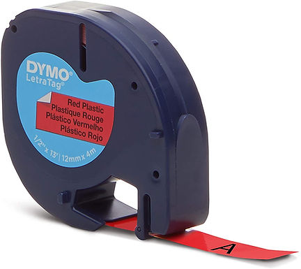 Dymo LetraTag 91333 Cinta Plástica Negro/Rojo 12mmx4m