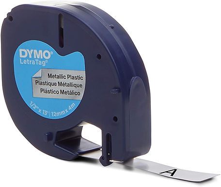 Dymo LetraTag 91338 Cinta Plástica Negro/Plateado de 12mmx4m