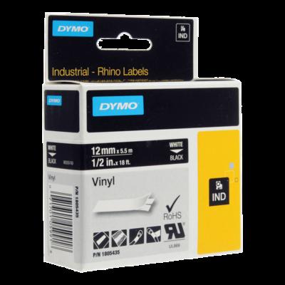 DYMO Industrial Rhino 1805435 Cinta Vinilo 12mm x 5,5m Blanco/Negro