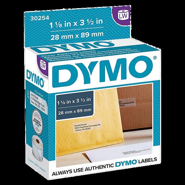 DYMO 30254 Rollo por 130 Etiquetas Plásticas Transparentes 89x28mm   Imprime en Dymo 450