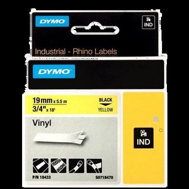 DYMO Industrial Rhino 18433 Cinta de Vinilo de 19mm x 5,5m Negro/Amarillo