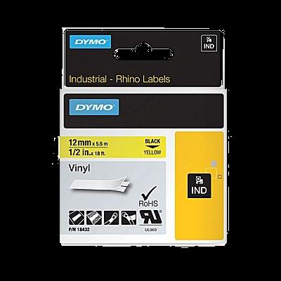 DYMO Industrial Rhino 18432 Cintas de Vinilo de 12mm x 5,5m Negro/Amarillo
