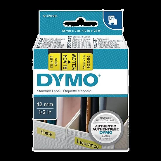 DYMO 45018   Cinta Plastica Impresión Negro/Amarillo 12mm x 7m