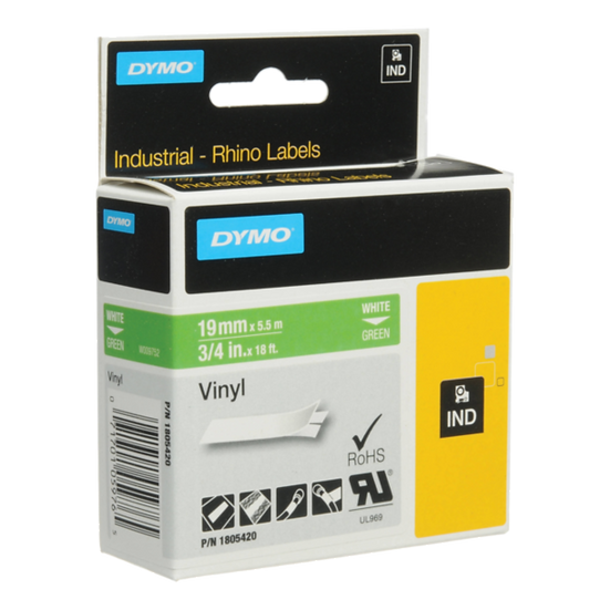 DYMO Industrial Rhino 1805420 Cinta de Vinilo 19mm x 5,5m Blanco/Verde