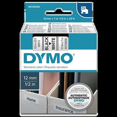 DYMO 45013 Cinta Plástica Impresión Negro/Blanco 12mm x 7m
