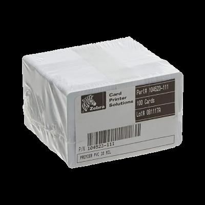ZEBRA | Paquete x 100 Tarjetas PVC Sin Tecnología Blancas Calibre 30 para Carnet
