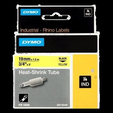 DYMO Rhino 18058 Tubo Termo Retractil | 19mmx1,52m Negro/Amarillo | Industrial