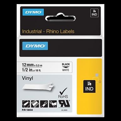 DYMO Industrial Rhino 18444 Cinta de Vinilo 12mm x 5,5m Negro/Blanco