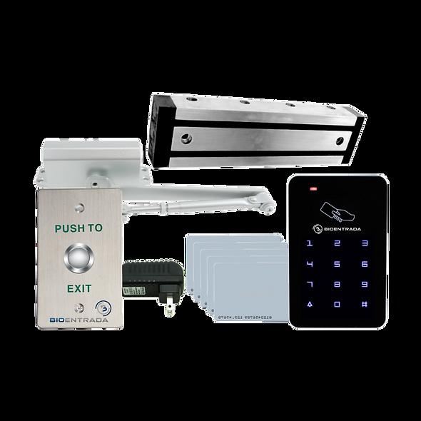 Combo de Control de Puerta con Lector RFID de Tarjetas de 125 KHz, Botón de Salida y Brazo Cierra Puertas